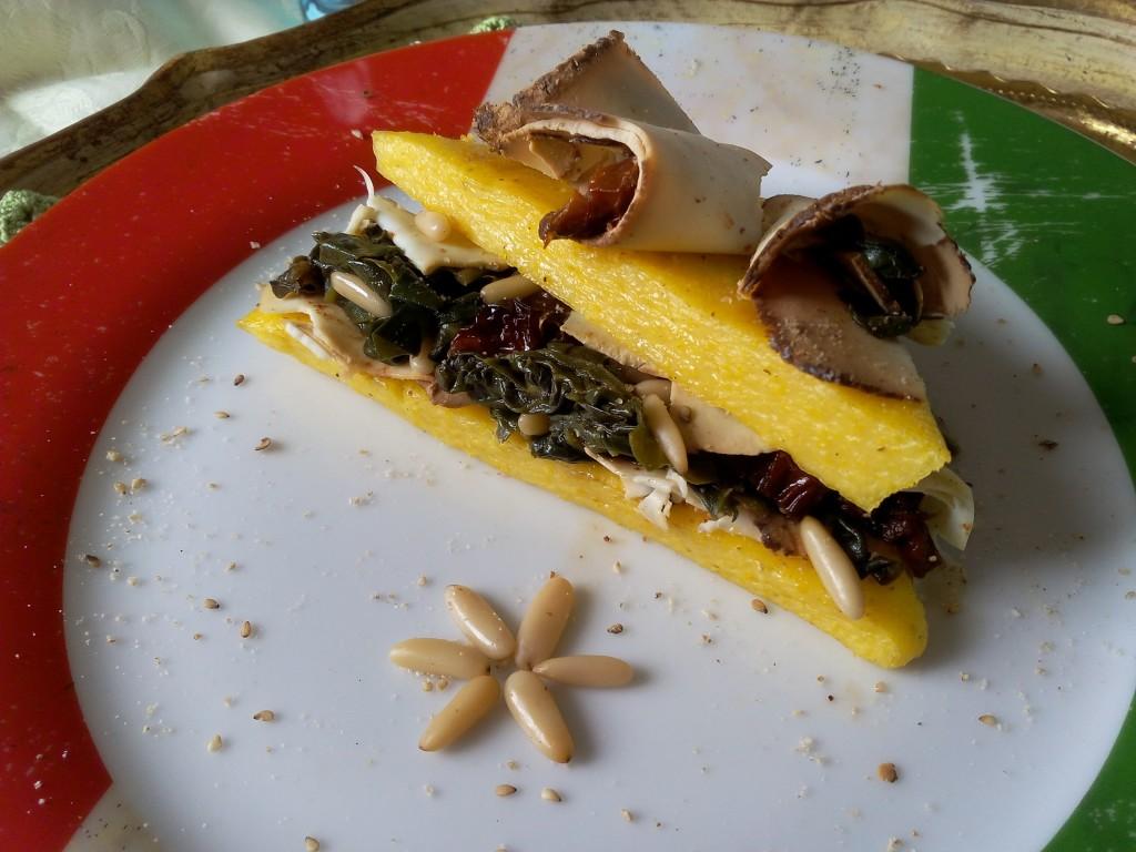 tramezzini di polenta con erbette